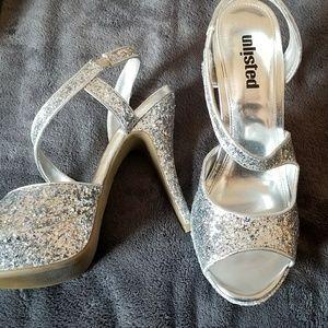 Glitter Strappy Heels